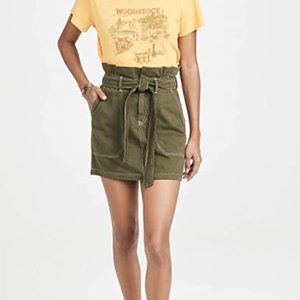 Army Green High-Rise Paperbag Belted Mini Skirt